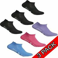 3pr Ladies Trainer ANKLE Socks Liner Yoga Sock Womens Sports Non Slip Gripper