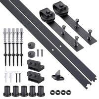 6.6 FT Carbon Steel Sliding Barn Wood Door Hardware Track Roller Kit Set Black