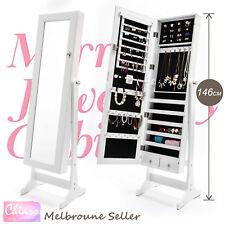 Mirror Jewellery Cabinet Storage Organiser Box Makeup Wooden Full Length WHITE
