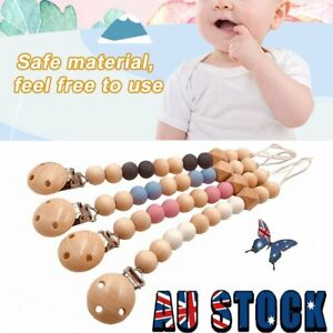 Wooden Dummy Clip Baby Infant Beaded Teether Pacifier Holder  QC