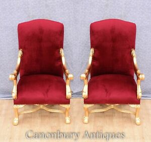 Gilt French Arm Chairs - Empire Chair Fautueils Seat