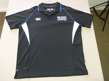 066 MENS NWOT CANTERBURY RUGY WORLD CUP 2011 NZ BLK / WHT S/S POLO LRG $110.