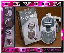 Tevion BDR200 Tragbarer Badradio LCD Display Wand Duschradio Uhr Grau Weis L2