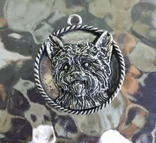 House Pet Purebred 2 Yorkshire Terrier Dog Pewter Pendant or Pocket Coin New
