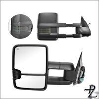 Power Heated Smoke Signal Tow Towing Mirror Pair Set For 03-07 Silverado Sierra