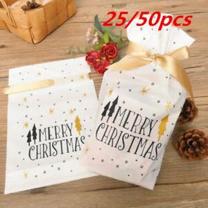 50pcs Christmas Sacks Reusable Drawstring Wrap Present Gift Party Bags Storage