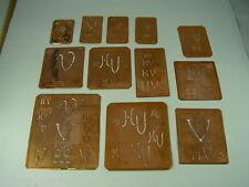 12 x HV alte Merkenthaler Monogramme, Kupfer Schablonen, Stencils,Patrons broder
