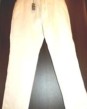 RAFFI Linea Uomo White 100% Pure Linen Pants Size US M EU 50 NEW Italy Design