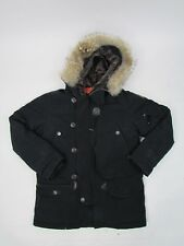 Parajumpers Boys Black Down Parka Padded Jacket Coat Age 8 With Fur Hood