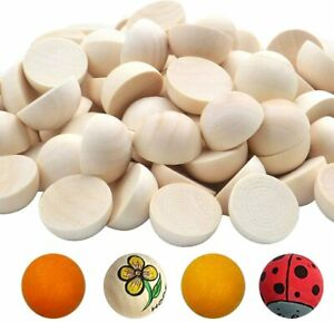 100pcs Half Wooden Beads Unfinished Split Round Wood Balls for Craft Paint DIY