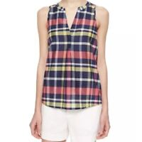 Joie Capucine Plaid Tank Top Size XS Silk Cotton Split V-Neck Sleeveless Blouse