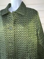 Chico's Sz 2 (LARGE) Green Quilted Collared Lined Jacket Pockets EUC