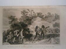 gravure 19° voyage Cook :Bank et Solinder visite d'un village de la terre de feu