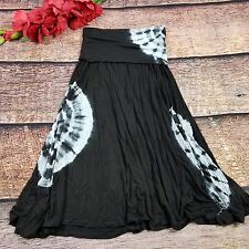 Maxi Skirt Tie Dye Size Medium Black White Raviya Women's  Dress Mid-Calf DD21