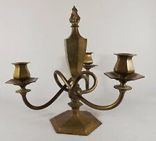 Antique Victorian Candelabra Solid Brass HEAVY Flame Finial Previously Electric