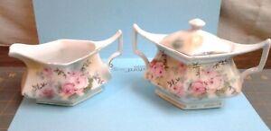 Vintage Sugar and Creamer Set Germany Floral Flower Designs