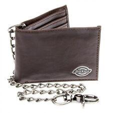 New Dickies Leather Slim Bifold Wallet with Gunmetal Metal Chain