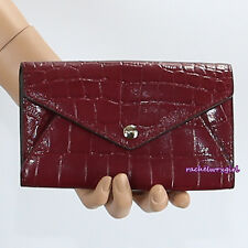 NWT Coach Croc Embossed Leather Envelope Card Case Wallet 67283 Merlot Red RARE