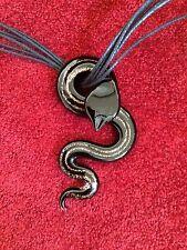 BLACK CORD GOTHIC CHOKER NECKLACE BLACK COPPER LARGE GLASS REPTILE SNAKE PENDANT