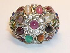 Vintage Thai Princess Harem Dome Cluster Ring Colorful Gemstones Size 6 1/4
