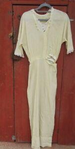 antique victorian dress long cream dress edwardian lace cotton vintage edwardian