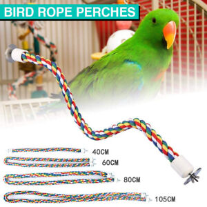 Bird Rope Toy Perches Colorful Comfy Parrot Cage Bungees Pet home DIY Perch