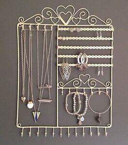 Large Wall Jewellery Tree Display Hanger Holder Cream Metal Necklace Earrings