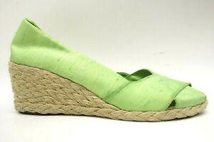Ralph Lauren Lime Green Slip On Peep Toe Espadrille Wedge Heel Shoes Women's 7.5