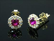 333 Gold Ohrstecker mit Rubinen 6,5 mm mit 1 Paar mit Zirkonia Steinen