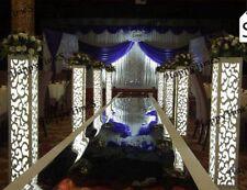 8PCS LED White Wedding Column Carved Flower Pillar Decoration Stand PVC Board