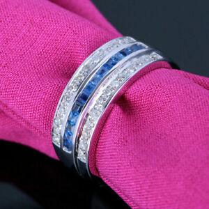 2.25 Ct Blue Sapphire Engagement & Wedding Channel Set Men's Ring 14K White Gold