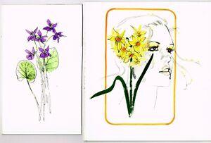2 x ORIGINAL SKETCHES by Geraldine Fox 1986/87 unsigned/unfinished