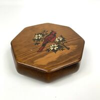 "Vintage Wood Octogonal Trinket Box With Red Cardinal 6""x6""x2.25"""