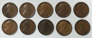(10) 1909 VDB US LINCOLN WHEAT CENT 1C COIN EXTRA FINE LOT
