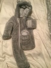 George baby grey teddy unisex snowsuit 3-6 months
