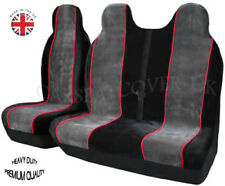 FIAT DUCATO (06-13) LUXURY GREY/RED VAN SEAT COVERS - SINGLE + DOUBLE