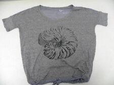Roxy Woman Small Tee Shirt Top Nautilus LX Back Stripes Grey Front