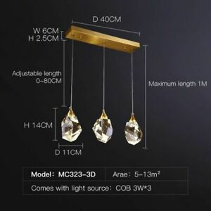 LED Pendant Lights Full Brass Crystal Hanging Lamp Luminaire Suspension Decor