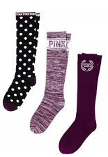 New Victorias Secret PINK 3pairs Socks Set Knee High Maroon Plka Dot OS NIB