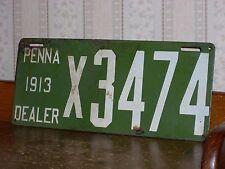 Antique-Vintage Porcelain-Pa-Pennsylvania Dealer License Plate-1913-Rare-Car