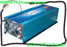 """24000W/6000W LF Pure Sine Wave 12V DC/110V AC Power Inverter 3.5""""LCD/UPS/Charger"""