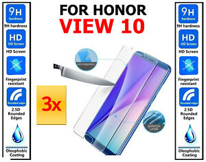 3x Genuine 100% TEMPERED GLASS Screen Protector Cover For Huawei Honor View 10