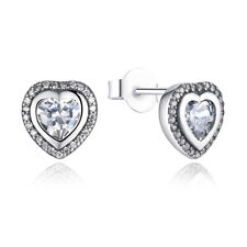 Wostu Retro Authentic S925 Sterling Silver Sparkling Love Stud Earrings Clear CZ