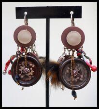 Boucles d oreilles BIJOUX LOL LOLILOTA PARIS marron rouge pompon bouton perle