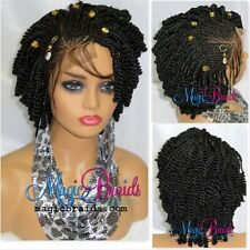 """Handmade Braided Wigs Black Wig 4"""" by 4"""" Lace Front Cornrows Short Wig"""