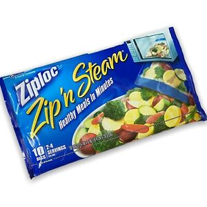 "Ziploc Zip N Steam Cooking Microwave Bags Medium 10 Bags 7.25"" x 8"" Free Ship"