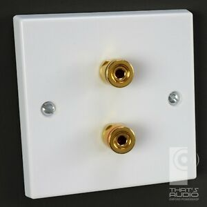 2 x Gold plated Binding Posts - SPEAKER Wall Face Plate White Non-Solder