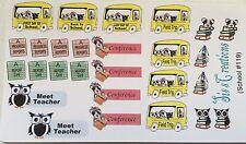 Planner stickers, School bear, owl, fits Erin Condren and Happy planners