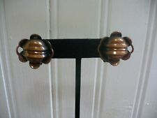 Vintage Textured Solid Copper Modernist Flower Clip-On Earrings