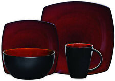 Gibson Dinnerware Set 16pc Home Dishes Food Kitchen Dinning Red/Black Meal New